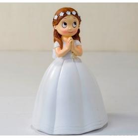 Figura comunhão vestido longo menina e coroa