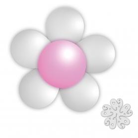 Pacote de balões de flores brancas e rosa